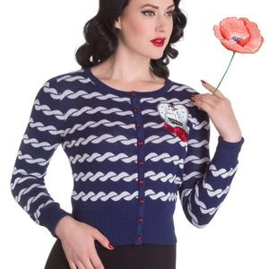 Retired Hell Bunny Nautical Blue Rope Cardigan